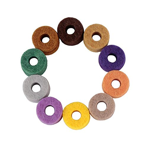Algol - 20pcs/ Pack Cymbal Stand Felt Washer Pad Replacement Round Soft for Drum Set Cymbals (Random Color Delivery)