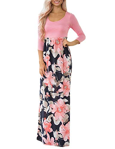 DUNEA Women's Maxi Dress Floral Printed Autumn 3/4 Sleeve Casual Tunic Long Maxi Dress Pink ()
