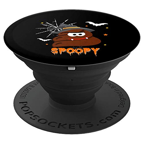 SPOOPY Funny Halloween Poop Witch Emoji | Spooky Pun Joke PopSockets Grip and Stand for Phones and Tablets ()