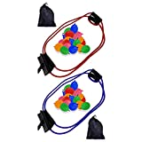 3-Person Water Balloon Bomb Launcher Catapult Slingshot Balloon Toy for Outdoors Including 300 Bunch Colourful Water Balloons and Carrying Case (Set of 2)