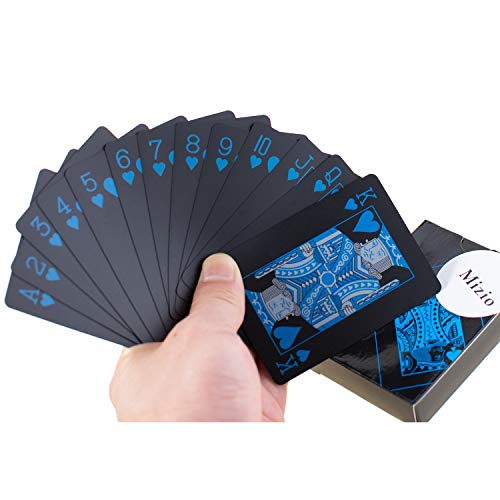 Waterproof Plastic Poker Playing Cards, Black PVC Poker Table Cards Classic Magic Tricks Tool Deck (54pcs)(Black and Blue)