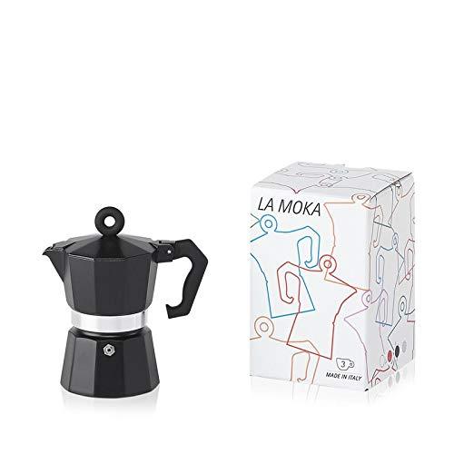 lly Moka Pot, Black for 3 Cups Black Stovetop Espresso Maker
