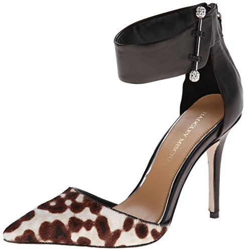 Calf Leather Pump Shoes (Badgley Mischka Women's Jude Dress Pump,Black/Grey Leopard,7.5 M US)