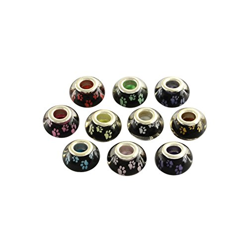NBEADS 100PCS Mixed Color Large Hole Dog Paw Prints Pattern Acrylic European Beads for Necklace Bracelet Jewelry Making, 14x9mm