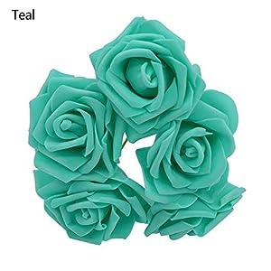 DraFenn 5Pcs/Lot Multicolor Pe Foam Flowers Artificial Rose Flower Wedding Bridal Bouquet Home Decor Rose DIY,Teal 82