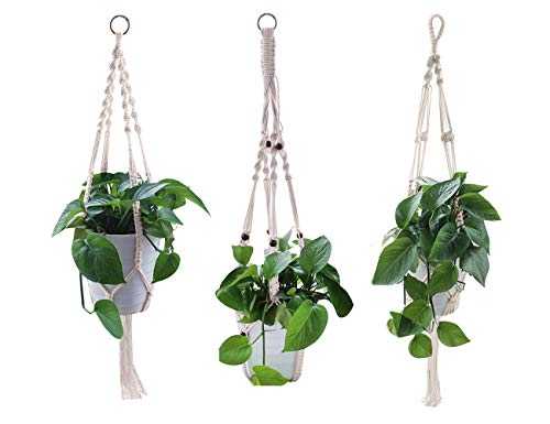 Yotako Macrame Plant Hanger, 3 Pattern Indoor Rope Plant Hanger, Large & Small Wall Hanging Plant Holders,Handmade Flower Pot Holder for Ceiling Outdoor Garden Balcony Hanging Basket -