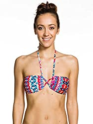 Roxy Womens Roxy Criss Cross Bandeau - Bikini Top - Women - S - Red Moroccan Dream Sw Aurora Red P S