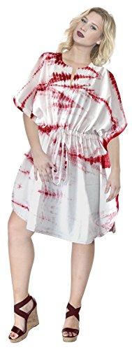 La Leela 100% fait main en coton doux fait Tie Dye plage tunique kimono caftan rose