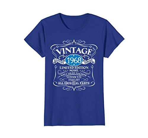 Womens Vintage 50th Birthday Funny Tshirt 1968 All Original Parts Small Royal ()