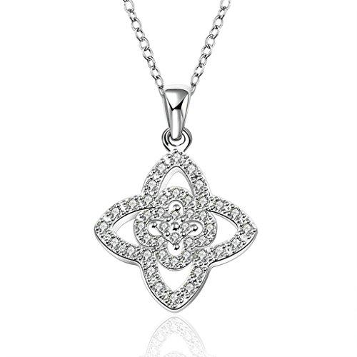 Women 925 Silver Plated Hollow Heart Pendant Necklace + Bracelet + Earrings Jewelry Set - 7