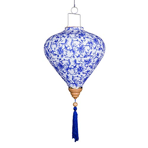 FB Chinese Blue and White Porcelain Pattern Silk Lantern| Chinese New Year Decoration for Spring Festival Hanging Embellishment (14 inch) (Style A)