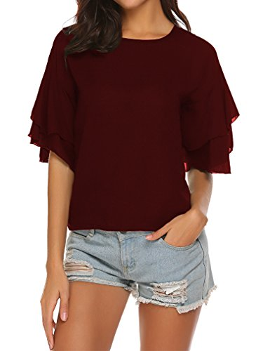 Tobrief Women's Short Sleeve Bell Sleeve Chiffon Tops Office Wear