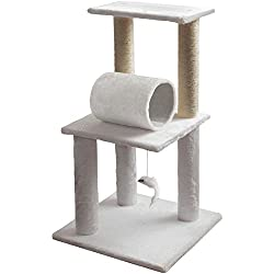 Paws & Pals 16x16x33 Inches Cat Tree House w/Scartching Post Towers, Pet Toy Ball and Rope and Mouse, Multi Level, 3 Level Condo - Brown