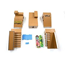 Kidsdream® 5pcs Skate Park Kit Ramp Parts for Tech Deck Fingerboard Mini Finger Skateboard Fingerboards Ultimate Parks with 2PCS Finger Boards