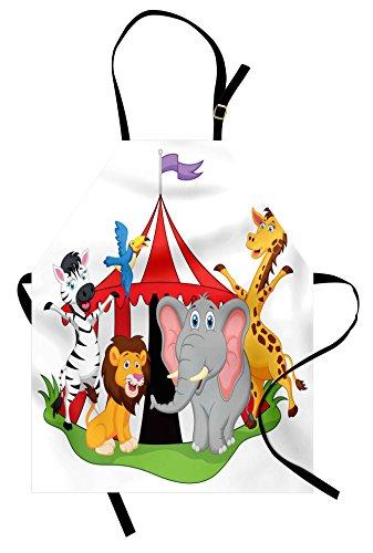 Ambesonne Circus Apron, Performer Acrobat Animals in Circus