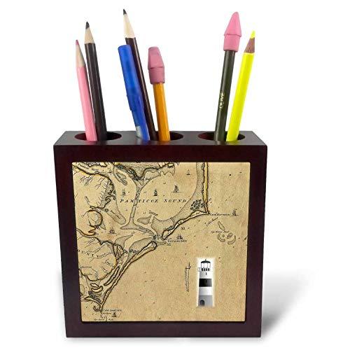 3dRose Lens Art by Florene - Nautical Maps - Image of Vintage Nautical Map Cape Hatteras North Carolina - 5 inch Tile Pen Holder (ph_317557_1) (Table Side Hatteras)