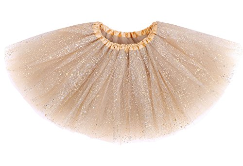 (Girls Four Layered Sparkling Sequins Princess Tutu Skirt Ballet Dance Dress)
