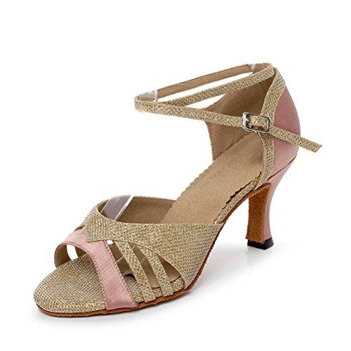BCLN Womens Open toe Sandals Latin Salsa Tango Heels Practice Ballroom Dance Shoes with 2.75 Heel Gold Xk84J