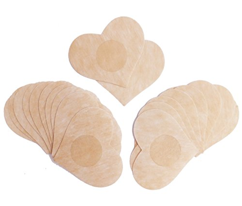 (DoHope Disposable Nipple Covers Non Woven Adhesive No Show Breast Petal Pasties (10 Pairs, Heart Shape))