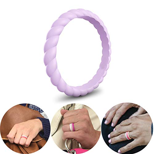 CHSTAR Braided Silicone Wedding Rings for Women - Premium Fashion Forward Stackable Silicone Rubber Wedding Bands, Size 4 5 6 7 8 9, Hypoallergenic Medical Grade Silicone Ring - Classic ()