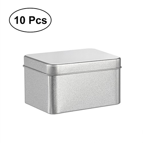 BESTONZON 10PCS Square Tin Cans Empty Cube Steel Box Storage Container for Treats Gifts Favors and Crafts