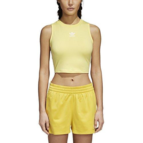 adidas Originals Women's Crop Tank Top Intense Lemons Large (Adidas Sweatshirt Spandex)
