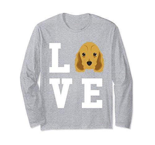 Unisex I Love My Dog - Cocker Spaniel Dog Lover Long Sleeve T-Shirt 2XL Heather Grey ()