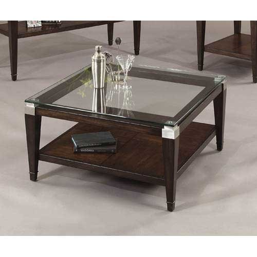 Traditional Square Cocktail Table - Bassett Mirror Dunhill Square Cocktail, 36 by 36 by 18-Inch, Cappuccino