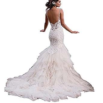 WHZZ Womens Sexy Mermaid Backless Bridal Gown Layered Chapel Train Wedding Dress