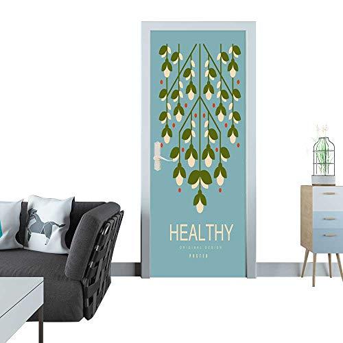 door sticker Healthy poster original design ecological template in blue colors for card banner flyer invitation brochure vector illustration healthy lifestyle concept 3D door sticker 35x83
