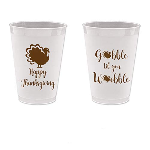 - Thanksgiving Frost Flex Plastic Cups - Gobble Till You Wobble