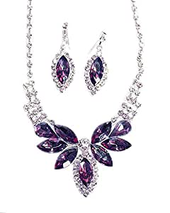 Eggplant Purple Butterfly Crystal & Crystal Rhinestone Necklace/Earring Set - Purple Bridesmaid Jewelry
