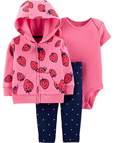 (Carter's Baby Girls 3 Piece Bodysuit Pant Little Jacket Set (Strawberry) (18 Months))
