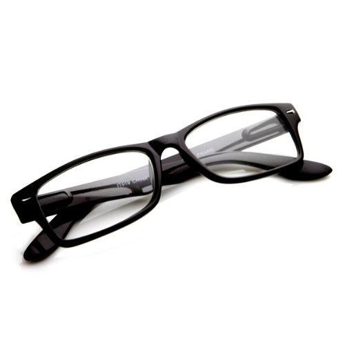 dc215499422 zeroUV - Casual Fashion Horned Rim Rectangular Frame Clear Lens Eye Glasses  (Black)