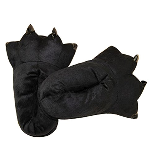 CuteOn Unisex Soft Plush Cartoon Winter Slippers Cosplay Costume Animal Paw Claw Shoes Black U5mo6xuR1