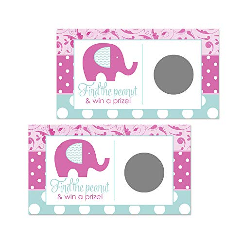 Whimsy Pink Elephant Scratch Off Game Cards for Girls Baby Shower (28 Pack)