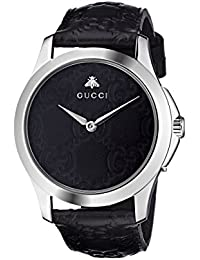 bfa4693f56e Quartz Stainless Steel and Leather Casual Black Watch (Model  YA1264031) ·  Gucci