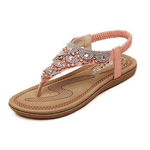 Pocciol Women New Bohe Rhinestone Fashion Flats Large Size Casual Sandals Summer Soft Beach Shoes (Pink, US:4.5)