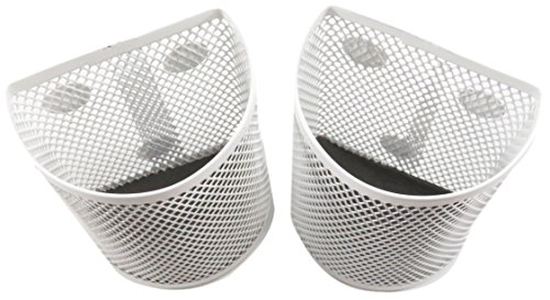 Half Moon Mesh Wire Pen Pencil Holder Magnetic 3.7 x 2.8 White (Set of 2) by Daiso (Image #2)