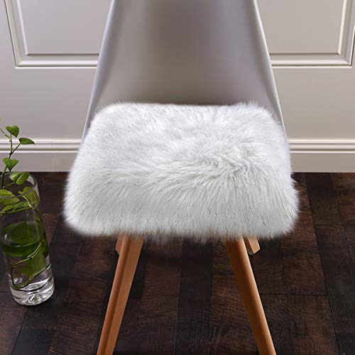 (Softlife Faux Fur Sheepskin Rug Chair Cover Seat Cushion Pad Soft Area Rugs for Bedroom Girls Room Sofa (1.6ft x 1.6ft, White with Silver Glitter))