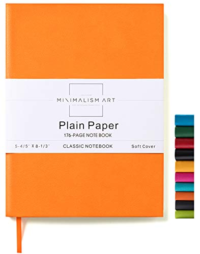 Minimalism Art, Soft Cover Notebook Journal, A5 Size 5.8 X 8.3 inches, Orange, Plain/Blank Page, 176 Pages, Fine PU Leather, Premium Thick Paper-100gsm, Ribbon Bookmark, Designed in San Francisco