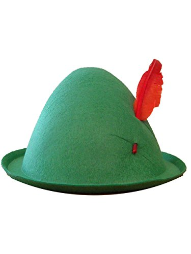 Forum Novelties Men's Alpine Hat with Feather, Green/Red, One Size -