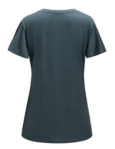 Regna X Women's Short Sleeve V Neck Loose Flowy Comfy Tunic Shirts Grey XL by Regna X (Image #2)