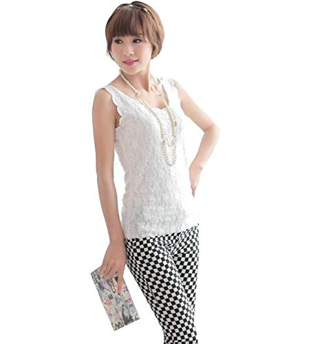 fbf726ab9b975 Syga Women s Polyester Floral Lace Sleeveless Round Neck Top (White ...