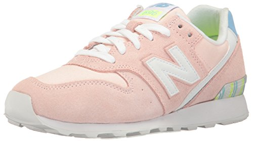 New Balance Women 696 Lifestyle Fashion Sneaker Sunrise Glo/White
