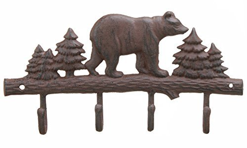 (Cast Iron Bear Wall Key Rack Holder 4 Hooks Coat Hook Home Decor)