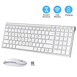 iClever GK03 Wireless Keyboard and Mouse Combo - 2.4G Portable Wireless Keyboard Mouse, Rechargeable Battery Ergonomic Design Full Size Slim Thin Stable Connection Adjustable DPI, Silver and White