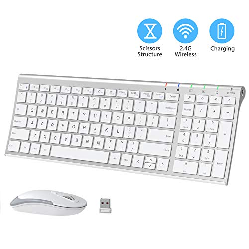 iClever GK03 Wireless Keyboard and Mouse Combo - 2.4G Portable Wireless Keyboard Mouse, Rechargeable Battery Ergonomic Design Full Size Slim Thin Stable Connection Adjustable DPI, Silver and White (Toshiba Laptop Keyboard Some Keys Not Working)