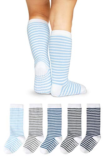 LA Active Knee High Grip Socks - 5 Pairs - Baby Toddler Non Slip/Skid Cotton (Boys Stripes, 4-6 Years)