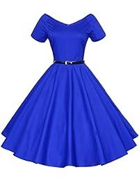Women's Vintage 1940s 50s Shirtwaist Flared Swing Skaters Tea Party Dress